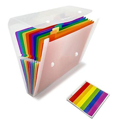 SummerZee 13 Pockets Portable File Folders, A4 Expanding Document Folder,