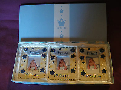 NIB Mud Pie Prince Baby Photo Picture Set of 3 Mini Frames 1st Photo Steps B-day