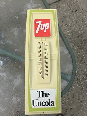 Vintage 7 up Thermometer Hard Plastic Moldded Soda Pop advertising sign