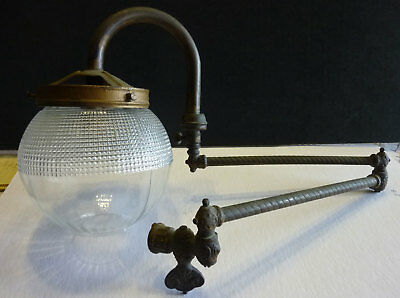 Victorian double arm articulating gas light fixture with globe, brass or bronze