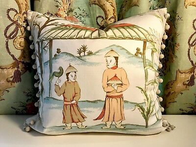 """Thibaut """"Ting Yuan"""" Chinoiserie Cotton/linen With Ball Trim Pillow"""