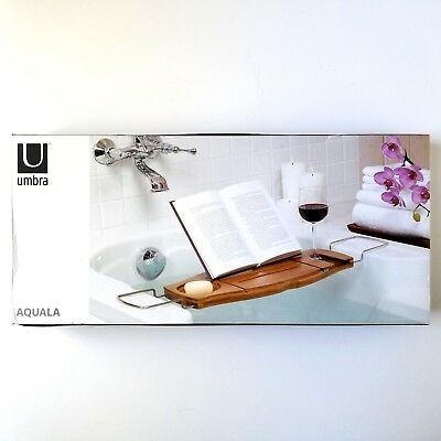 UMBRA AQUALA BAMBOO Bathtub Caddy Tub Tray Table Organizer - New ...