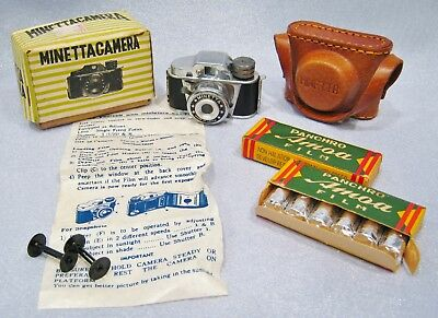 Vintage Minetta Mini Spy Camera w/case Instructions 2 Boxes Un-Used Film Japan