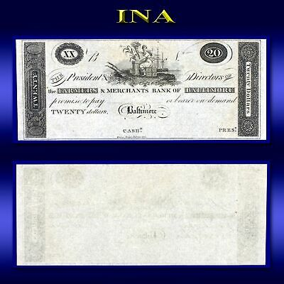 Maryland Farmers & Merchants Bank of Baltimore $20 Obsolete Note Gem Unc