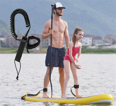 10ft Coiled Surfboard Leash Stand UP Paddle Board Surfing Safety Foot Ankle Rope