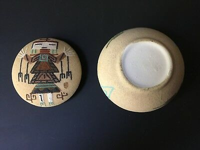 Native American Navajo Sandpainting Art Box Father Sky Painting Southwestern