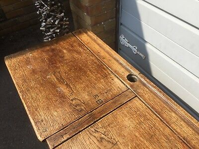 Astonishing Antique Vintage Double Wooden School Desk With Ink Wells Lift Up Lids Interior Design Ideas Ghosoteloinfo