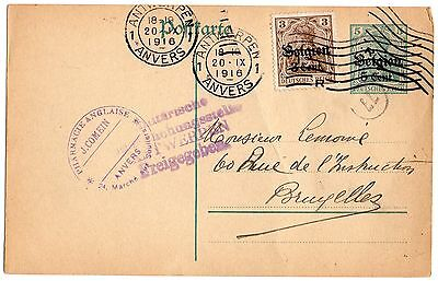 Carte 1916 Anvers Antwerpen pharmacie anglaise guerre occupation censure