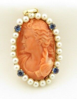 Antique 14 kt Gold Hand Carved Natural Coral Cameo w/ Pearls & Sapphires Pendant
