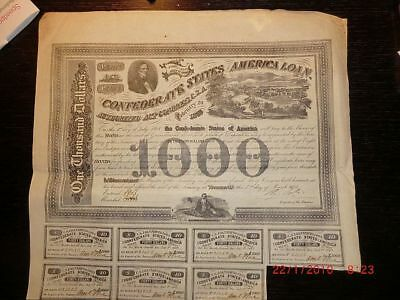 confederate states of america, loan, 1000 Dollar, Februar 1863, mit Coupons