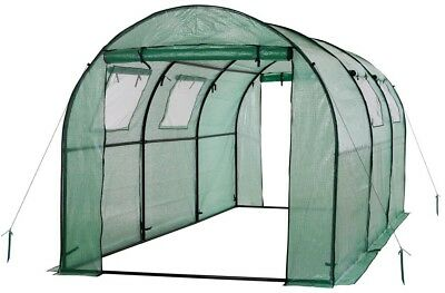 Portable Greenhouse Garden House Walk-In Tunnel Ventilation Windows Steel Frame