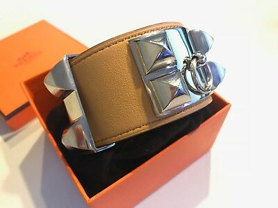 NEW HERMES Swift Collier De Chien CDC Bracelet Curry Yellow Beige Cuff PHW  Small 5c447467f6d
