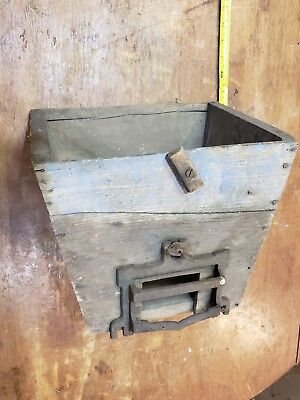 Antique Tapered Wooden Box Wood With Very Rare Hardware Barn Old Unique