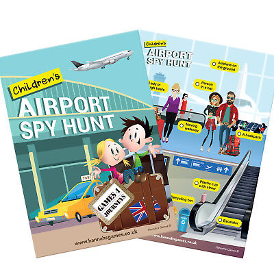 CHILD AIRPORT BINGO Travel Game Scavenger Hunt Plane Quest Search Flight Kid