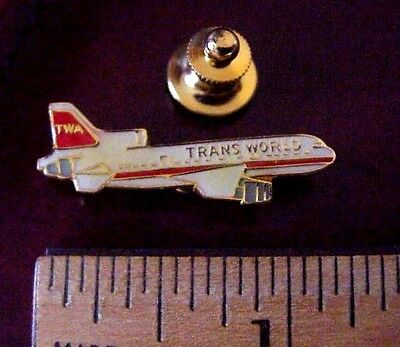 "Twa Trans World Airlines Boeing L-1011 Jet Metal & Epoxy Resin 1 1/4"" Lapel Pin"