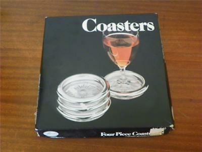 SET 4 SILVER PLATE Glass COASTERS Sunburst Pattern Vintage Modern Leonard MFG