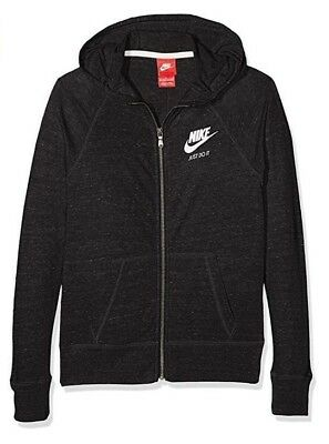 Nike Kid's Girls' GYM VINTAGE FULL-ZIP HOODIE Black 728402-010 a