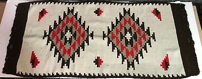 ANTIQUE VTG NAVAJO MEXICAN Blanket Rug ZAPOTEC Woven Wool Red Black 60x28