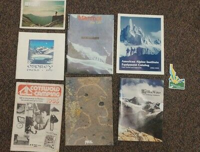 Vintage Climbing Camping Equipment Catalog LOT x7 80's 90's Marmot Petzl +More