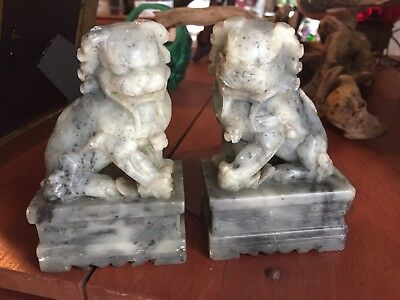 """Pair Of Soapstone Or Marble 6"""" Tall Foo Dog Statues"""