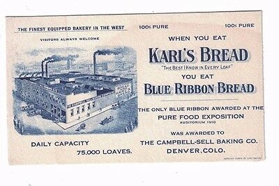 Early 1900's KARL'S BREAD Campbell Sell Baking Co. Denver CO Advertising Blotter