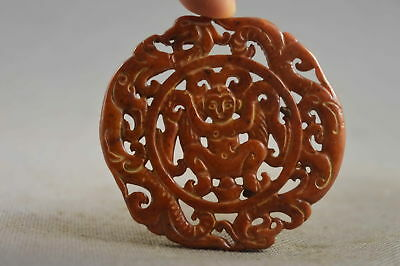 Collectable Handwork Jade Carve Dragon Exorcism Ancient Special Royal Pendant