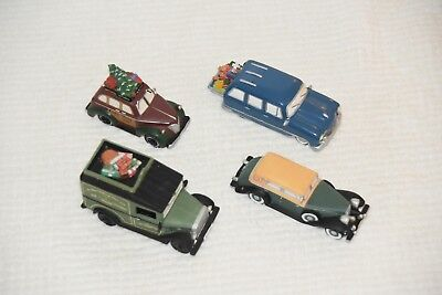 Department 56 Christmas Vehicle Lot Classic Car, Delivery Van, Cars With Gifts