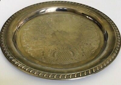 "Leonard Silver Plate 12"" Round Serving Tray - Free Shipping"