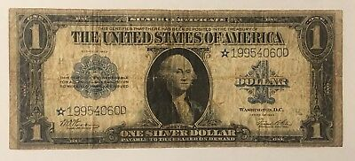"""1923 $1 """"STAR NOTE"""" Large Size Silver Certificate - WOODS/WHITE"""