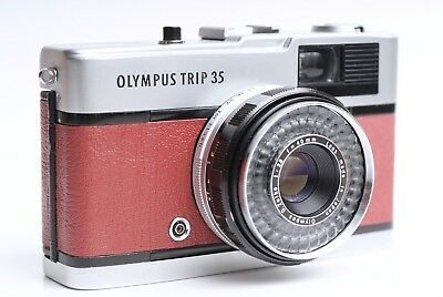 Vintage retro Olympus Trip 35 Camera - CLA - Refurbished (Oxblood Red)