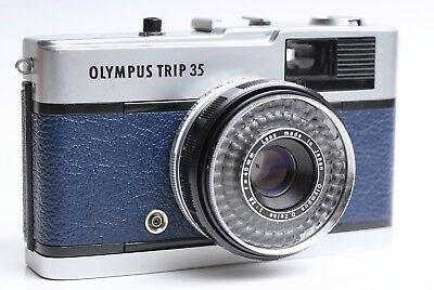 Vintage retro Olympus Trip 35 Camera - CLA - Refurbished (Midnight Blue)