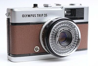 Vintage retro Olympus Trip 35 Camera - CLA - Refurbished (Chocolate Brown)