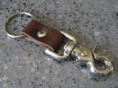 Belt Loop Key Clip Rustic Brown Leather Heavy Duty Quick Release Trigger Snap