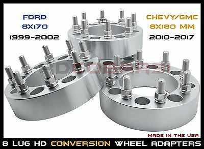 """Ford 8X170 Mm To Chevy Gmc 8X180 Mm 1"""" Thick Wheel Spacers Conversion Usa Made"""
