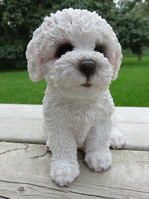 Bichon Frise  Dog Resin Figure Garden Home Decor New Puppy White Statue Dogs