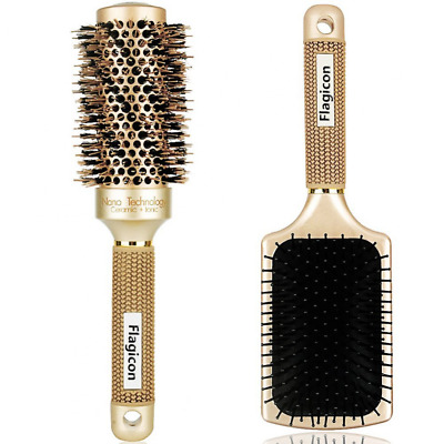 Round Hair Brush Nano Thermal Ceramic Barrel with Natural Boar Bristles1.8 Inch