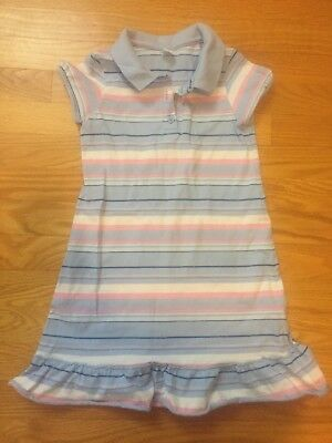 carters girls polo dress, size 6, blue, short sleeves