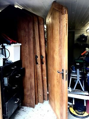 6 heavy  old Gothic oak internal doors.  antique