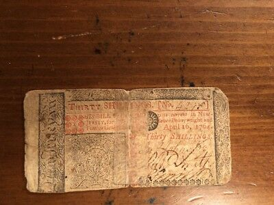 1764 New Jersey 30 Shillings Colonial Currency Fr-NJ-158