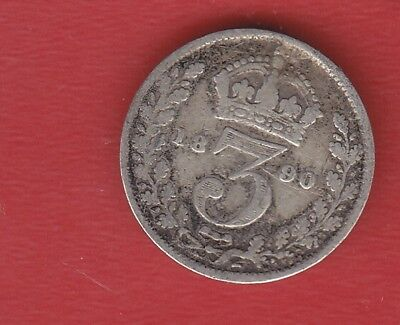 Great Britain 3 Pence 1890 Silver