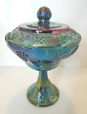 Indiana Iridescent Blue Harvest Grape Carnival Glass Compote Candy Dish with Lid