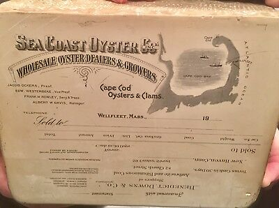 """Antique 10"""" X 8 """" Lithograph Printing Stone Early 1900's Seacoast Oyster Co."""