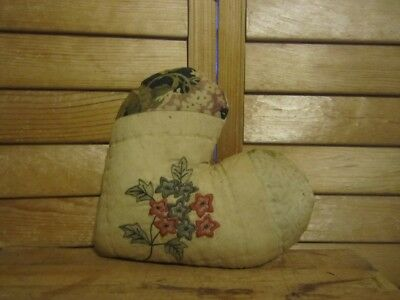 Primitive   quilted Heart Pillow -cream with black - stitched flowers - 21