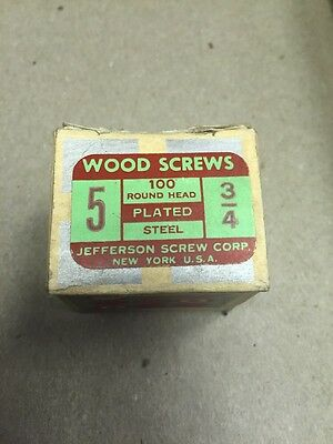 2 boxes Jefferson # 5 X 3/4 Inch RH PLATED Steel SLOTTED Wood Screws 100  perBox