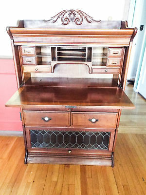Antique 1900s GRM Lawyers Cabinet Wood Glass Display Bookcase Writing Desk