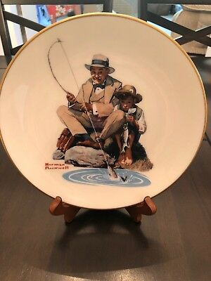 "8.5"" Norman Rockwell ""Catching the Big One"" Father Son Fishing Plate Gorham"