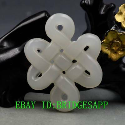 Chinese Natural Hetian Jade Hand-Carved  Chinese knot  Pendant  A11