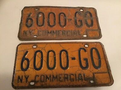 New York State Commercial Plates 1980's  6000 GO