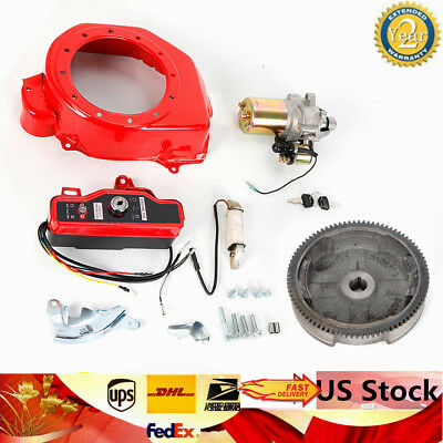 Electric Start Kit Starter Motor Ignition Switch FlyWheel Fit Honda GX160/GX200