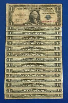 1935A-1957B $1 Blue SILVER Certificates Set of 15 Assorted X532 Rough!
